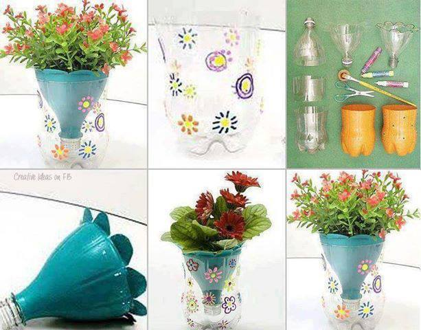 Try to make a nice VASE from water bottle