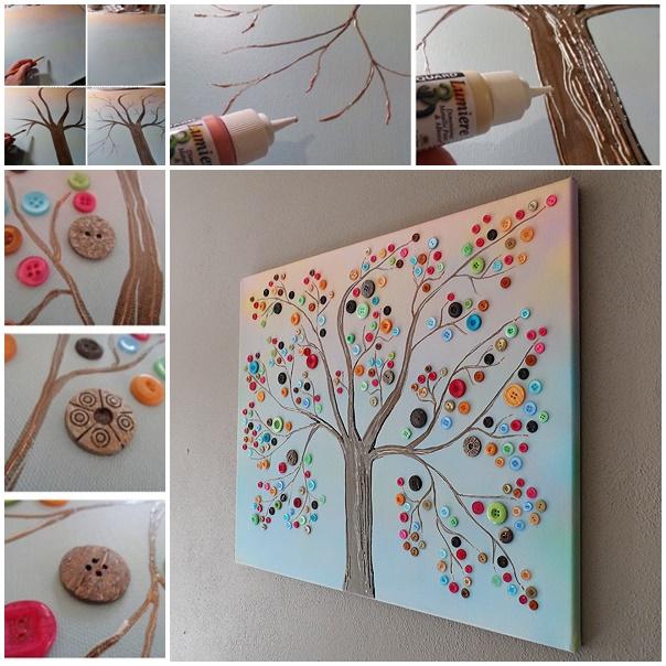 DIY Vibrant Button Tree on Canvas wall art tutorial