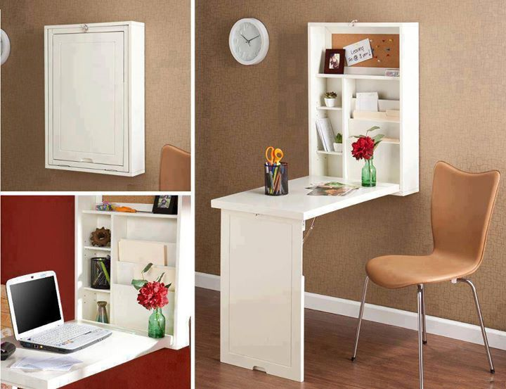 Space saving wall mount fold down convertible desk - Convertible desks for small spaces ...
