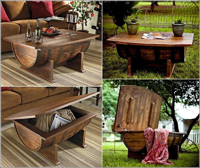 recycle wine barrel into amazing whiskey coffee tablediy wine barrel coffee table free plan