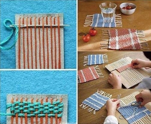 Woven Coasters with Cardboard