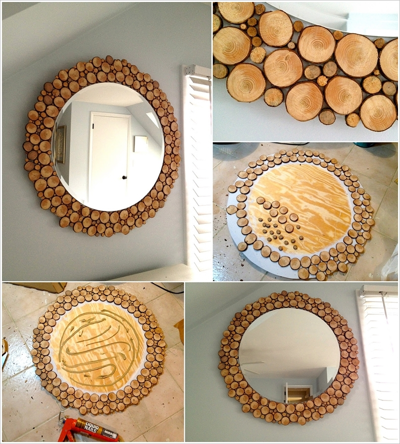amazing mirror with wood slices around
