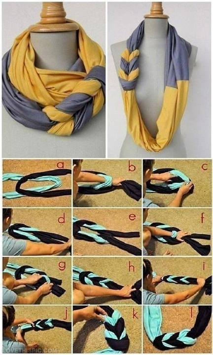 How to DIY Two-tone Braided Infinity Scarf (Video)