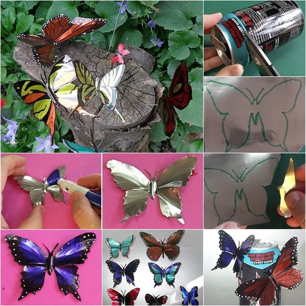 DIY Beautiful Butterflies from Drink Can