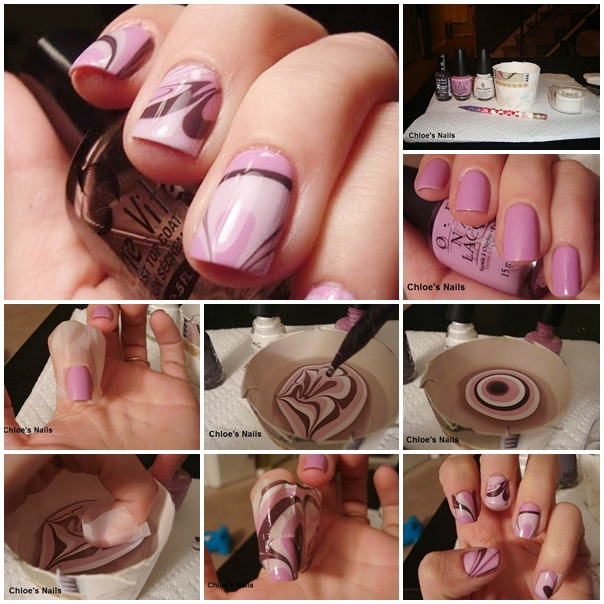 chic water marble nail art