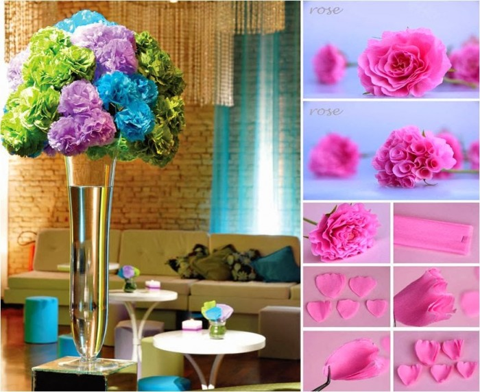 Diy beautiful crepe paper rose centerpiece mightylinksfo