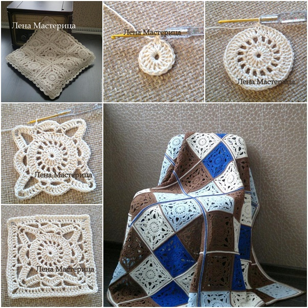 Crochet Beautiful Lace Square Motif blanket/Bedding Free Pattern with Pictures