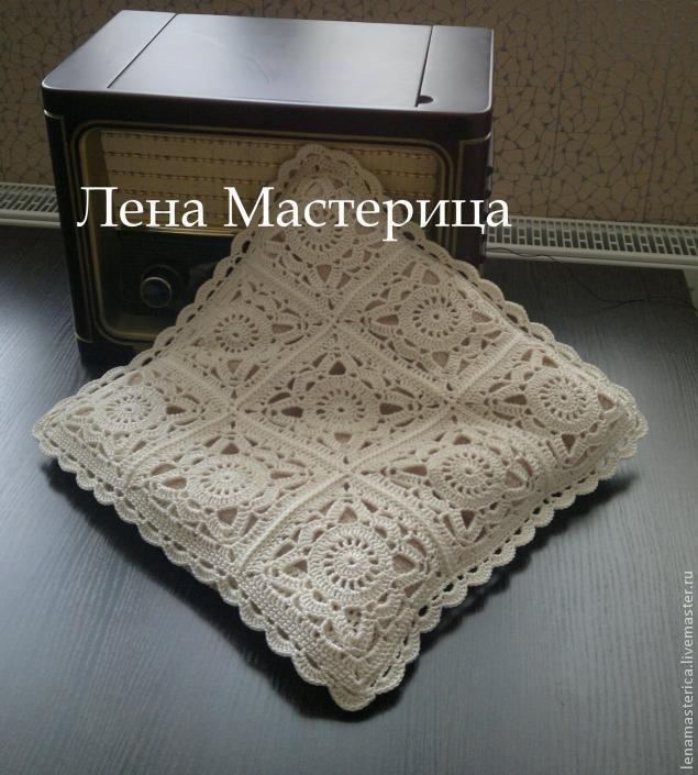 Crochet Lace Square Motif Bedding Blanket