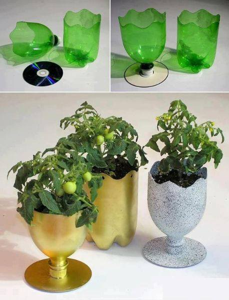 cup planter from plastic bottles