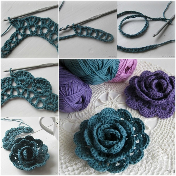 Crochet Stitches Rose : Crochet Pretty 3D Lace Rose Free Pattern