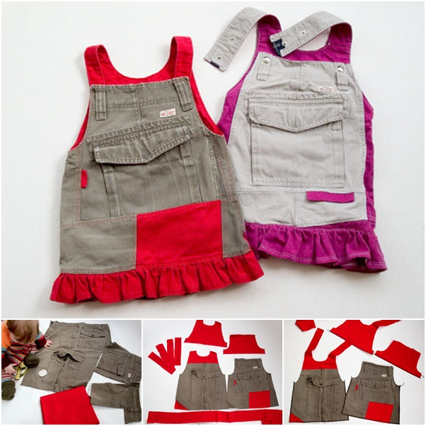 How To Diy Girls Jumperall Dress From Old Cargo Pants