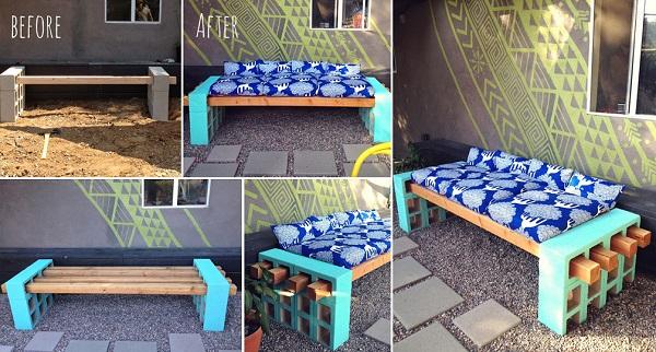 diy outdoor seating-DIY Cinder Block Bench