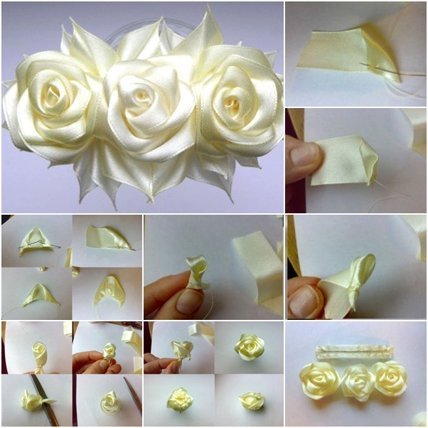 How To Make Small Ribbon Rose Flower - Making Paper Flowers Step ... | 602x602