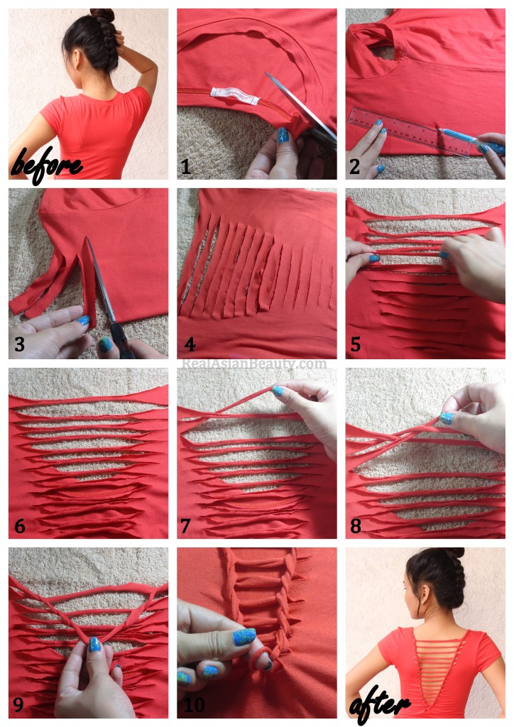 How to Refashion an Old T-Shirt with Weaving Back3