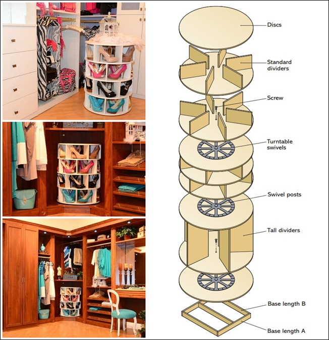 How to DIY Lazy Susan Style Shoe Storage Rack (Video)