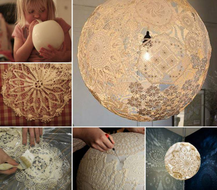 Paper doily lamp diy images for Doily paper floor lamp