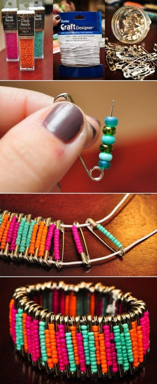 %tag How to DIY Simple Beaded Safety Pin Bracelet