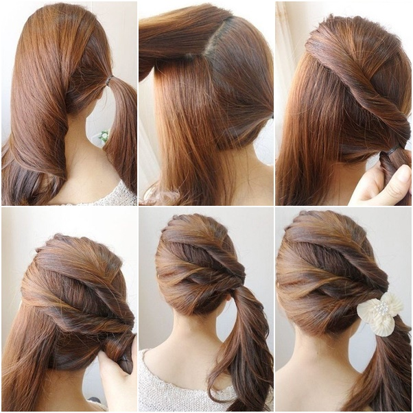 Ponytail Hairstyles For School Step By Step How to diy simple twist ...