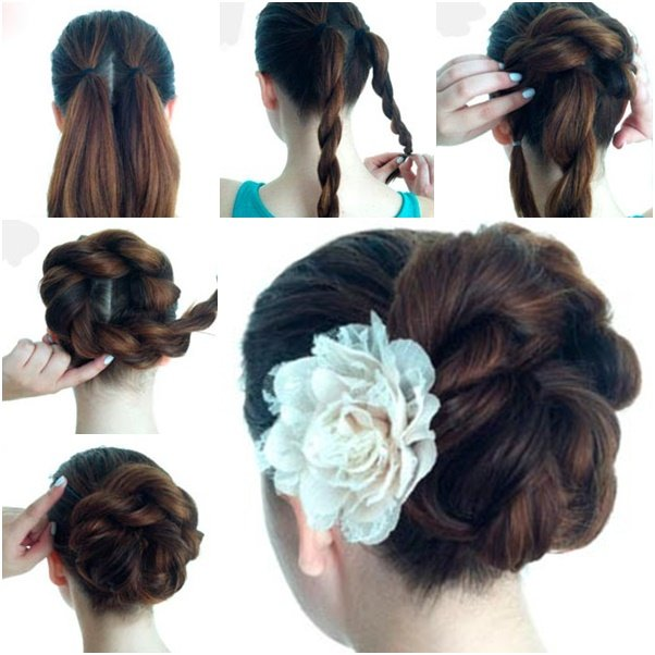 Excellent Braided Bun Easy Updo Braids Hairstyle Inspiration Daily Dogsangcom