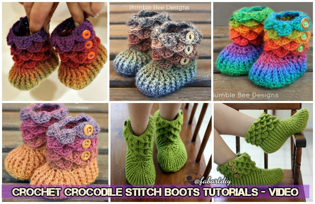 Crochet Dragon Scale Crocodile Stitch Boots Free Patterns Tutorials -Video