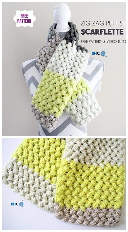 CrochetZig Zag Puff ScarfFree Crochet Pattern