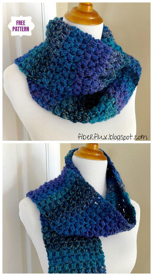 Crochet Diagonal Puff Stitch Scarf Free Crochet Pattern