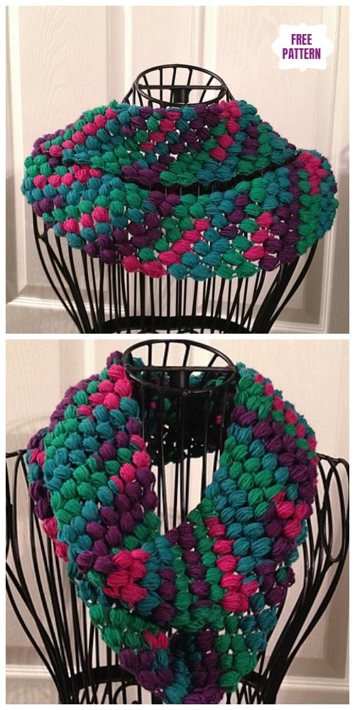 Crochet Tweedy Puff Stitch ScarfFree Crochet Pattern