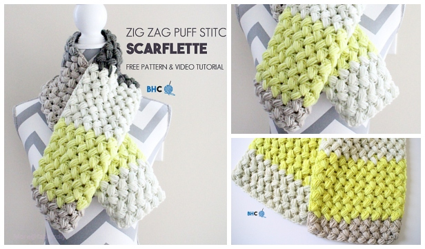 Crochet Puff Popcorn Stitch Scarf Free Crochet Patterns