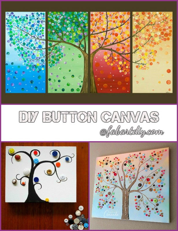 DIY Button Tree Canvas Wall Art Tutorials