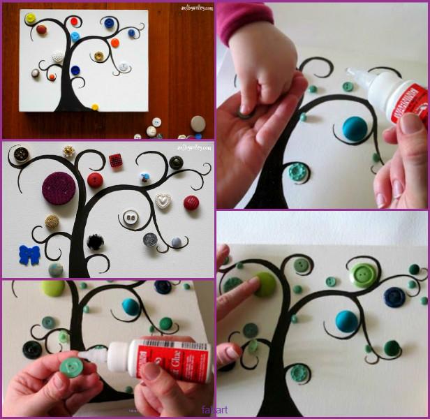 DIY Button Tree Wall Art Tutorial