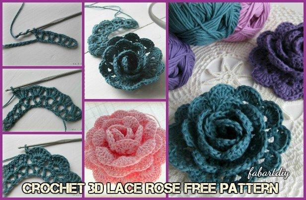 DIY Crochet Pretty 3D Lace Rose Free Pattern