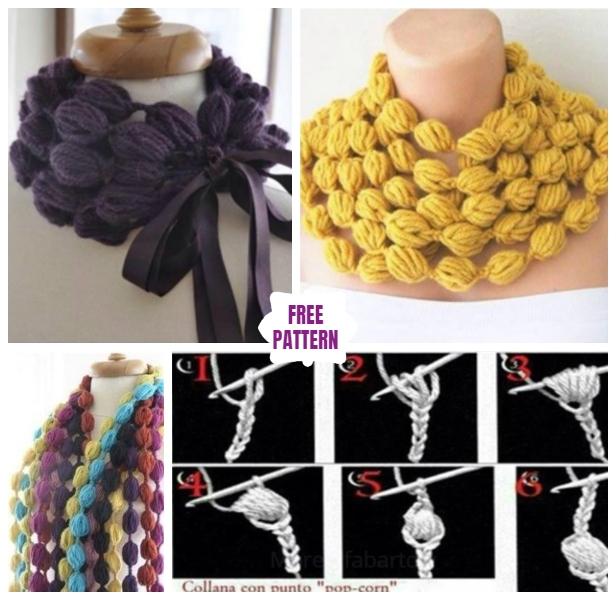 DIY Crochet Bubble Puff Stitch Scarf Necklace - Video
