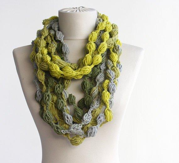 Diy Crochet Bubble Puff Stitch Scarf Necklace Video