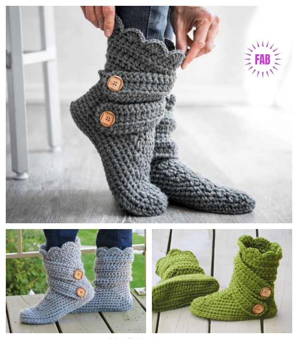 DIY Ladies Buttoned Cuff Slipper Booties Crochet Pattern - Video