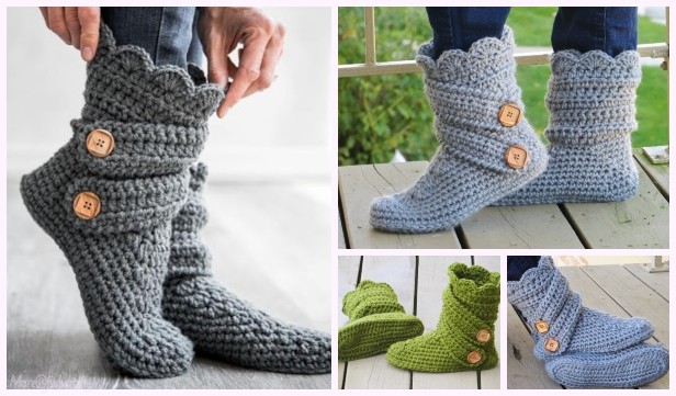 DIY Ladies Buttoned Cuff Slipper Booties Crochet Pattern - Video