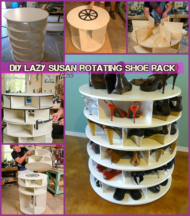 DIY Lazy Susan Style Shoe Storage Rack (Video)