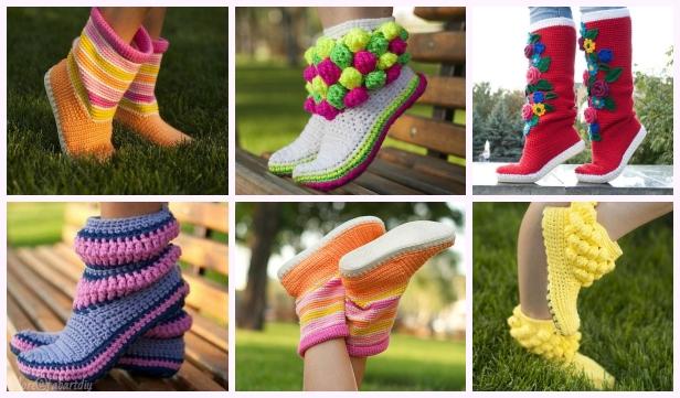 DIY Lovely Crochet Boot Slippers Crochet Pattern - Video