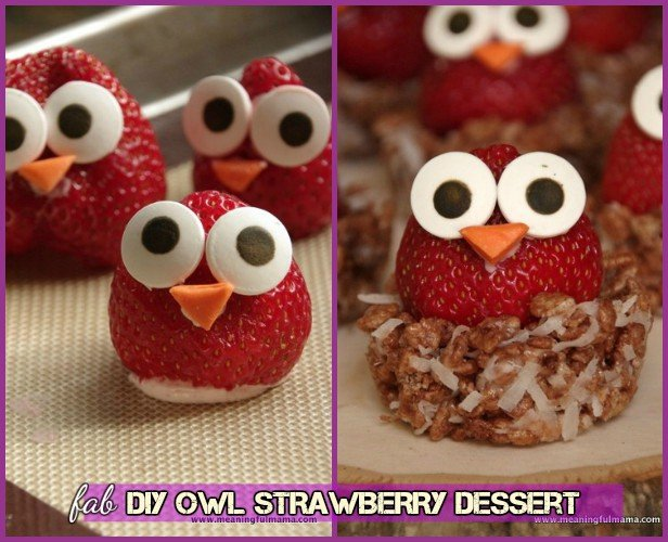 DIY Owl Strawberry in Krispy Nest With Cream Cheese Stuffing
