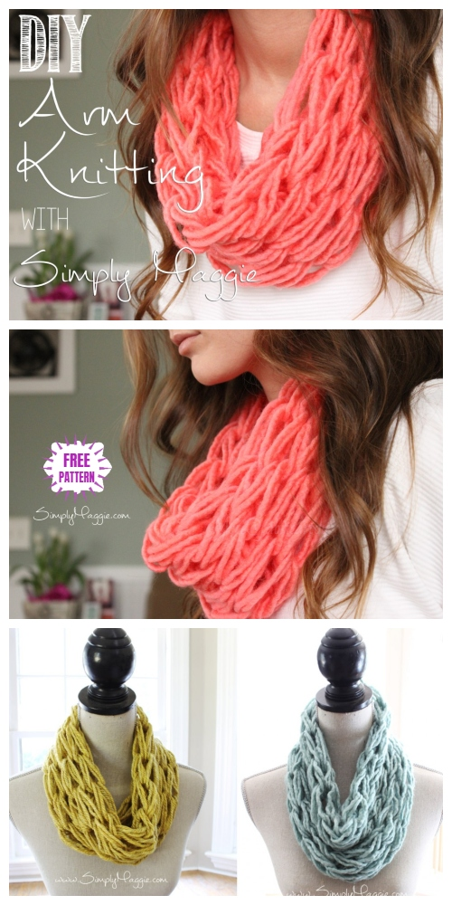 How to DIY Arm Knitted Scarf in 30 Minutes Tutorial - Video