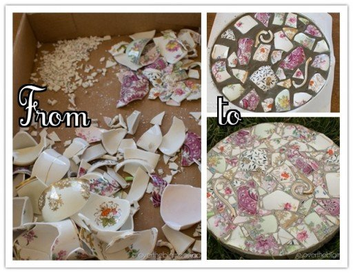 How to DIY garden stepping stones with broken dish or china