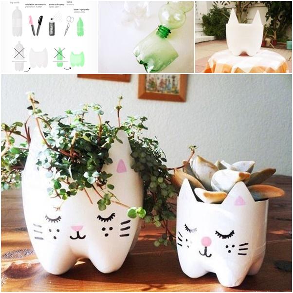 Diy cutest cat planter from plastic bottles - Diy projects using plastic bottles ...