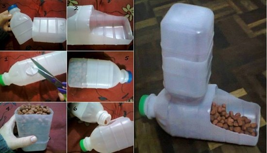 How to DIY Homemade Pet Feeder from Plastic Bottles