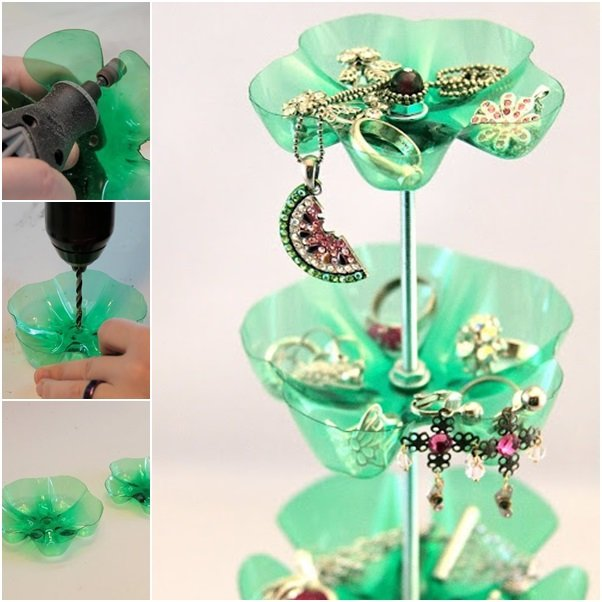 How to diy beautiful jewelry stand from plastic bottles for Diy plastic bottle