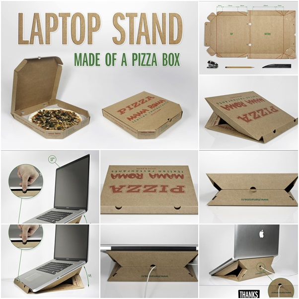 laptop stand made of a pizza box f