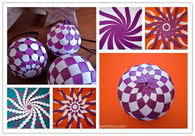 pretty woven paper bauble f