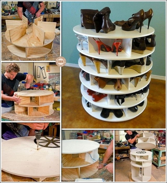 DIY Lazy Susan Style Shoe Storage Rack (Video)
