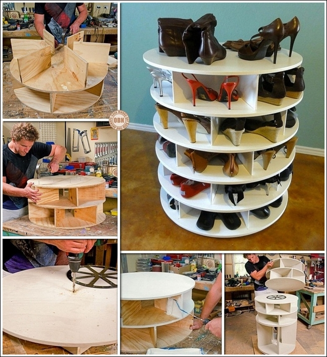 lazy susan style shoe storage rack diy
