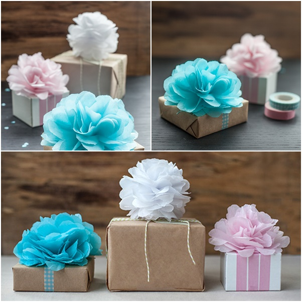 DIY MINI TISSUE POMS AND FLOWER GIFT TOPPERS