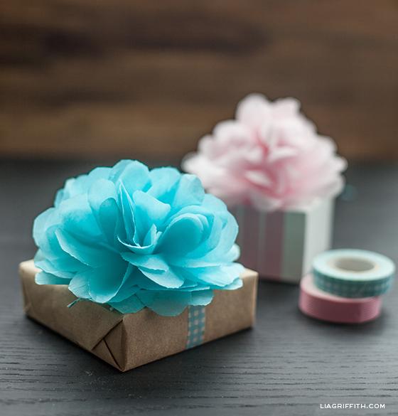 tissue pom flower gift topper3