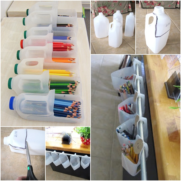 How to diy recycled milk jug organizer for Easy recycling ideas